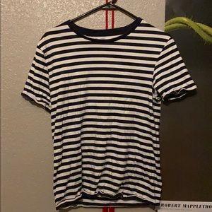Zara White and Black Striped Shirt
